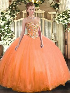 Lovely Sleeveless Embroidery Lace Up Sweet 16 Quinceanera Dress
