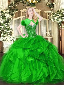 Modest Green Lace Up Quinceanera Dress Beading and Ruffles Sleeveless Floor Length
