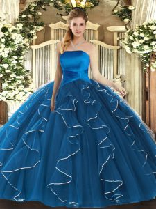 Blue Ball Gowns Strapless Sleeveless Tulle Floor Length Lace Up Ruffles Quinceanera Gowns