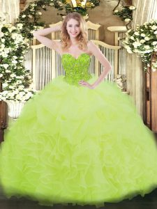 Smart Organza Sleeveless Floor Length Sweet 16 Dress and Ruffles