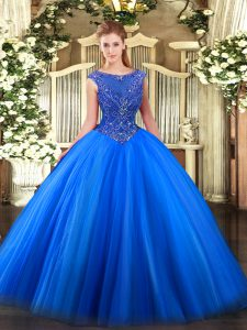 Perfect Royal Blue Tulle Zipper 15th Birthday Dress Sleeveless Floor Length Beading and Appliques