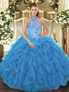 Pretty Organza Halter Top Sleeveless Lace Up Beading and Embroidery and Ruffles Sweet 16 Quinceanera Dress in Baby Blue