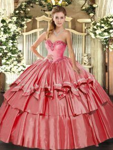 Decent Sleeveless Lace Up Floor Length Beading and Ruffled Layers Ball Gown Prom Dress