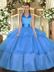Best Selling Sleeveless Tulle Floor Length Lace Up 15 Quinceanera Dress in Baby Blue with Ruffled Layers