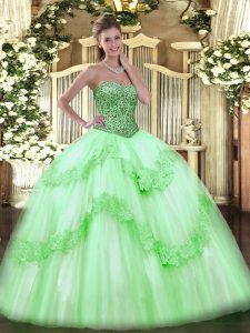 Tulle Lace Up Sweetheart Sleeveless Floor Length 15th Birthday Dress Beading and Appliques and Ruffles