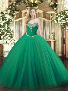 Sleeveless Floor Length Beading Lace Up Sweet 16 Dress with Turquoise