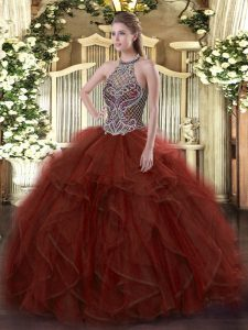 Floor Length Lace Up Sweet 16 Quinceanera Dress Rust Red for Sweet 16 and Quinceanera with Beading and Ruffles