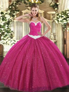 Fashion Hot Pink Quinceanera Dress Military Ball and Sweet 16 and Quinceanera with Appliques Sweetheart Sleeveless Lace Up