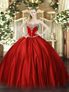 Floor Length Lace Up Ball Gown Prom Dress Wine Red for Military Ball and Sweet 16 and Quinceanera with Beading