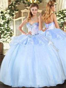 Suitable Light Blue Organza Lace Up Sweetheart Sleeveless Floor Length Quinceanera Dress Beading