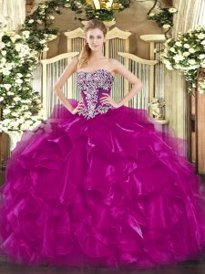 Glittering Fuchsia Sweet 16 Dress Military Ball and Sweet 16 and Quinceanera with Beading and Ruffles Strapless Sleeveless Lace Up