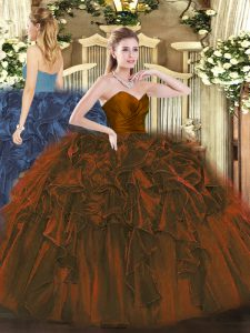Brown Organza Zipper Sweetheart Sleeveless Floor Length Quinceanera Dress Ruffles