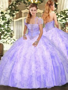 Discount Strapless Sleeveless Tulle Ball Gown Prom Dress Appliques and Ruffles Lace Up