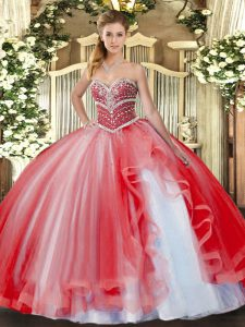 Fashionable Beading and Ruffles Quinceanera Gown Coral Red Lace Up Sleeveless Floor Length
