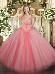 Beading Sweet 16 Dresses Watermelon Red Lace Up Sleeveless Floor Length