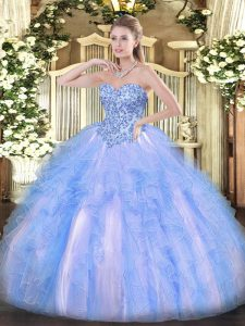 Free and Easy Organza Sweetheart Sleeveless Lace Up Appliques and Ruffles 15th Birthday Dress in Blue And White