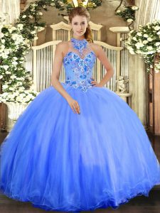 High Class Blue Tulle Lace Up Halter Top Sleeveless Floor Length 15th Birthday Dress Embroidery
