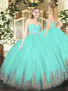 Dynamic Apple Green Quinceanera Gown Military Ball and Sweet 16 and Quinceanera with Beading and Lace and Appliques Sweetheart Sleeveless Zipper