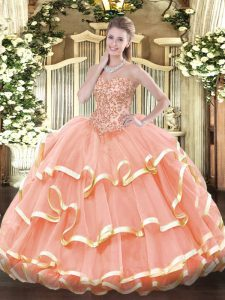 Hot Selling Floor Length Peach 15th Birthday Dress Sweetheart Sleeveless Lace Up