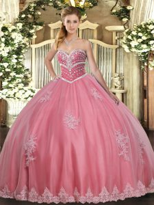 Custom Fit Sweetheart Sleeveless 15th Birthday Dress Floor Length Beading and Appliques Watermelon Red Tulle