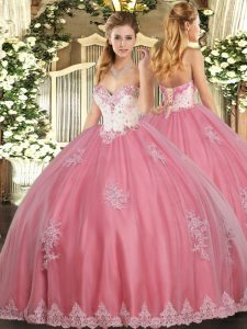 Luxurious Floor Length Watermelon Red Sweet 16 Dresses Tulle Sleeveless Beading and Appliques