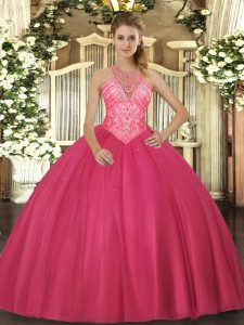 Artistic High-neck Sleeveless Ball Gown Prom Dress Floor Length Beading Hot Pink Tulle