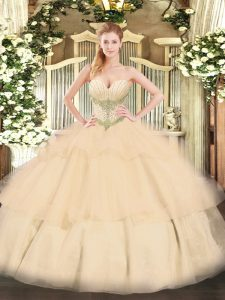 Floor Length Champagne Sweet 16 Dresses Sweetheart Sleeveless Lace Up