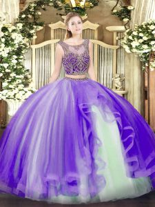 Unique Lavender Scoop Neckline Beading and Ruffles 15 Quinceanera Dress Sleeveless Lace Up