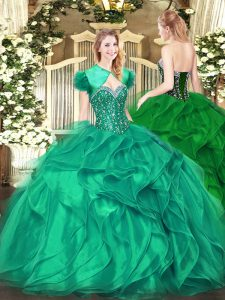 Lovely Turquoise Sleeveless Organza Lace Up Sweet 16 Quinceanera Dress for Military Ball and Sweet 16 and Quinceanera