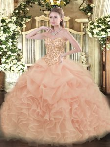 Latest Floor Length Lace Up Quince Ball Gowns Peach for Sweet 16 and Quinceanera with Appliques and Ruffles and Pick Ups