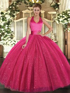 Affordable Hot Pink Sleeveless Tulle Lace Up Ball Gown Prom Dress for Military Ball and Sweet 16 and Quinceanera
