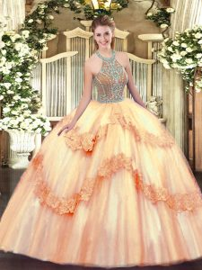 Glittering Sleeveless Beading and Appliques Lace Up Vestidos de Quinceanera