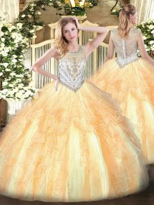 Tulle Sleeveless Floor Length 15th Birthday Dress and Beading and Ruffles