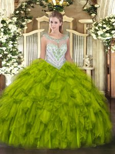 Olive Green Scoop Zipper Beading and Ruffles Ball Gown Prom Dress Sleeveless