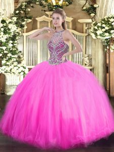 High Class Rose Pink Ball Gowns Beading Quinceanera Dresses Lace Up Tulle Sleeveless Floor Length