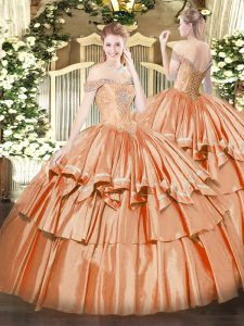 Exceptional Orange Red Ball Gowns Off The Shoulder Sleeveless Organza Floor Length Lace Up Beading and Ruffled Layers Quinceanera Dress