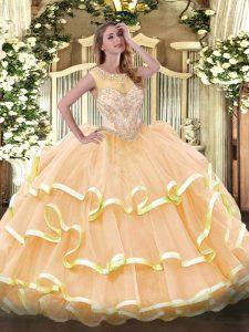 Shining Sleeveless Beading and Ruffled Layers Zipper 15 Quinceanera Dress