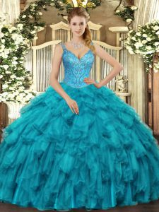 Ideal Floor Length Teal Quinceanera Dresses V-neck Sleeveless Lace Up