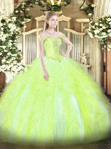 Pretty Yellow Green Sweet 16 Dresses Military Ball and Sweet 16 and Quinceanera with Beading and Ruffles Off The Shoulder Sleeveless Lace Up