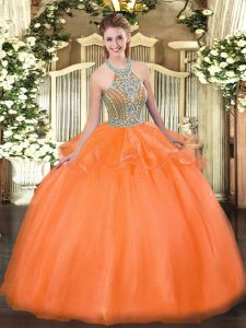 Orange Red Ball Gowns Beading and Ruffles Sweet 16 Dress Lace Up Tulle Sleeveless Floor Length