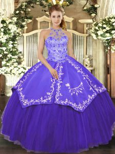 Eye-catching Sleeveless Satin and Tulle Floor Length Lace Up Quinceanera Dress in Purple with Beading and Embroidery