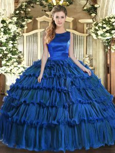 Simple Scoop Sleeveless Ball Gown Prom Dress Floor Length Ruffled Layers Royal Blue Organza
