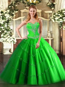 Wonderful Lace Up Sweetheart Beading Sweet 16 Dresses Tulle Sleeveless