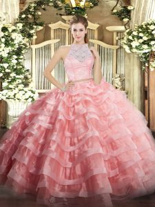 Two Pieces 15 Quinceanera Dress Watermelon Red Scoop Tulle Sleeveless Floor Length Zipper