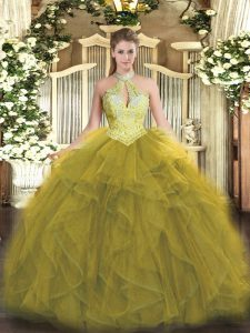 Olive Green Ball Gowns Organza Halter Top Sleeveless Beading and Ruffles Floor Length Lace Up Quinceanera Dresses
