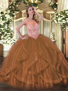 Fashionable Brown Sleeveless Tulle Lace Up Quince Ball Gowns for Sweet 16 and Quinceanera