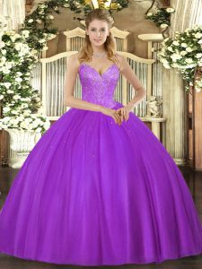 New Style Eggplant Purple Sleeveless Tulle Lace Up Ball Gown Prom Dress for Military Ball and Sweet 16 and Quinceanera