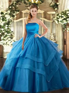 Glorious Baby Blue Strapless Neckline Ruffled Layers 15 Quinceanera Dress Sleeveless Lace Up