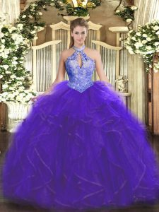 Halter Top Sleeveless Organza 15th Birthday Dress Ruffles and Sequins Lace Up