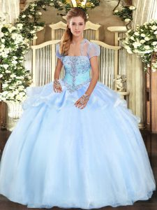 Wonderful Ball Gowns 15th Birthday Dress Light Blue Strapless Organza Sleeveless Floor Length Lace Up